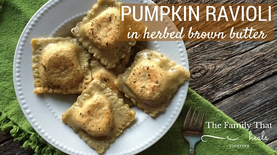 Paleo Pasta?! This pumpkin ravioli in herbed brown butter is the stuff dreams are made of! Using grain-free, primal ingredients, it is decadent without any junky ingredients!