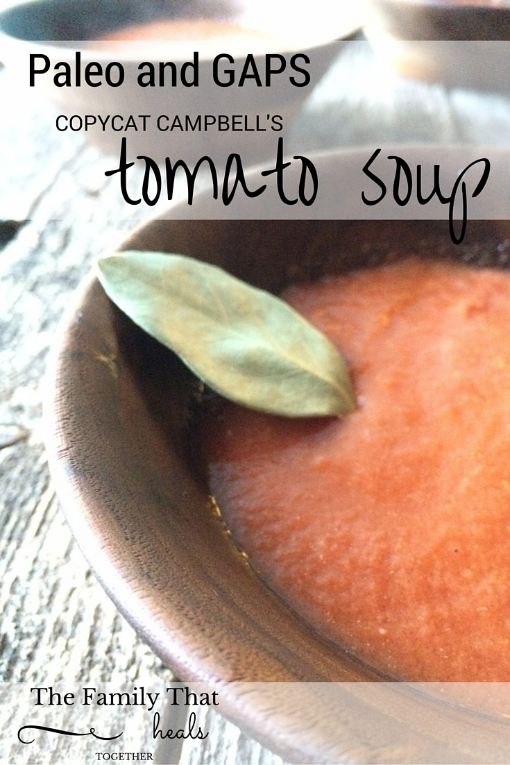 Paleo and GAPS diet-friendly copycat Campbell's tomato soup recipe- no junk, only nourishing ingredients! Gluten-free, grain-free, dairy-free and delicious!